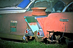 Fin Land (forestforthetress) Tags: unlimitedphotos cars rust vehicle automobile junk junkyard omot nikon chevy chevrolet fins tailfins auto finsantiquerural decay