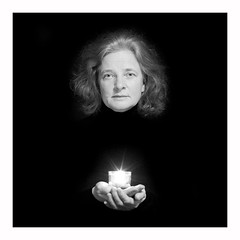 face to face (rcfed) Tags: hasselblad mediumformat digital portait bw monochrome low light eye candle hand
