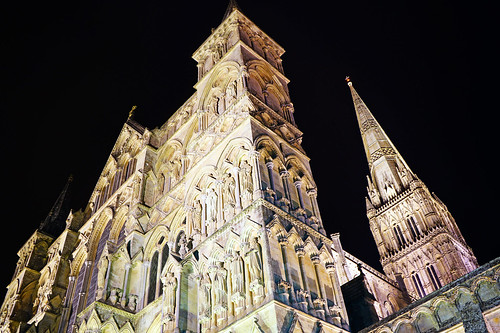 Salisbury by night. Mysterious gothic architecture