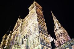 Salisbury by night. Mysterious gothic architecture (Andrey Sulitskiy) Tags: uk salisbury england wiltshire