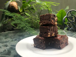 Chocolate Brownies with Cranberries and Walnuts