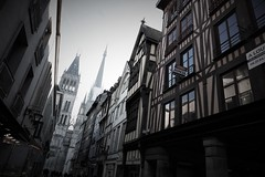 The old town of Rouen (roomman) Tags: 2019 france rouen old town medieval church cathedral holy building bw black white blackandwhite bandw grey monochrome contrast street streets