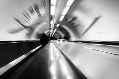 One Second London #10 (Sean Batten) Tags: london england unitedkingdom gb blackandwhite bw bank tube escalator fuji x100f fujifilm light shadow city urban onesecondlondon