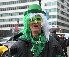Not sure what he is meant to be, but still and all, a sporting St. Patrick's Day parade outfit.