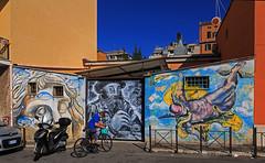 Street Art a Roma (Michele Monteleone) Tags: michelemonteleone 2018 canon 5dmarkiii cielo muro porta persona bicicletta murale streetart roma pigneto