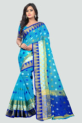 Latest Polyester Blue #EmbroideredSaree Online On #YOYOFashion. (yoyo_fashion) Tags: saree sareeblouse bluesaree traditionalsaree fashion ethnic style