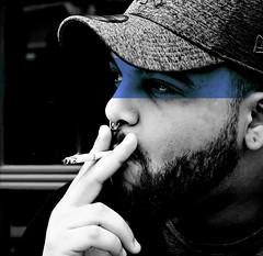 BlueLine (Crow.Vision) Tags: blue line color black white urban town city street portrait art pierced pensive outdoor smoke cigarette