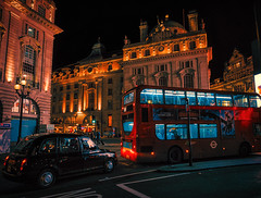 Chaos (Мaistora) Tags: traffic circle circus roundabout night evening lights dark lighting colour colourful streetlights displays advertising festive party spirit atmosphere chaos fun london piccadilly piccadillycircus bus taxi cab blackcab doubledecker routemaster red bright vivid vibrant londoncab england britain uk leica dlux typ109 lightroom skylum luminar explore explored17mar19