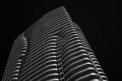 Curves & Lines (infrared) (dr_marvel) Tags: ir infrared houston texas tx architecture building apartments highrise skyscraper curves lines upward blackandwhite sky black clear