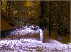 Winternacht in Pirna / winter night in Pirna [in explore] (Christoph Bieberstein) Tags: deutschland germany sachsen saxony pirna nacht night schlossberg schnee snow winter februar february licht lights weg way