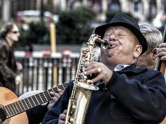 The Sax player (Frank Fullard) Tags: frankfullard fullard candid street portrait musician sax saxafone busker blow satchmo hat funny jazz color colour madrid spain espana saxophone