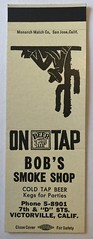 BOB'S SMOKE SHOP VICTORVILLE CALIF (ussiwojima) Tags: bobssmokeshop smokeshop bar victorville california advertising matchbook matchcover