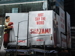 IMG_4453 (Brechtbug) Tags: shazam billboard 42nd street new captain marvel the big red cheese poster ad nyc 2019 times square movie billboards york city work working worker paint painting advertisement dc comic comics hero superhero alien dark knight bat adventure national periodicals publication book character near broadway shield s insignia blue forty second st fortysecond 03232019 lightning flight flying march