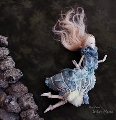 Fly or fall 🐦 (pure_embers) Tags: pure laura embers porcelain bjd doll dolls england uk girl shirrstone shelter urban pigeon pureembers photography photo ball joint portrait fine art dark falling