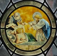 [73644] York : Merchant Adventurers Hall Chapel - East Window (Budby) Tags: york northyorkshire hall guild gild window stainedglass chapel church