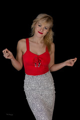 Ania happy (piotr_szymanek) Tags: ania aniaz woman young skinny portrait studio face eyesoncamera red blouse blonde longhair 1k 20f 5k 50f 10k