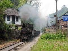 Jiaoba Sichuan  |  2011 (keithwilde152) Tags: c2 c210 jiaoba shibanxi sichuan china 2011 village tracks buildings architecture plantation landscape industrial railway freight train coal empties steam locomotives outdoor summer