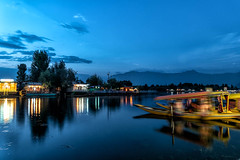 Blue hour (karmajigme) Tags: blue night longexposure dallake lake water boats srinagar kashmir india reflection clouds color