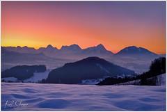 Sonnenuntergang über dem Toten Gebirge (Karl Glinsner) Tags: landschaft landscape österreich austria oberösterreich upperaustria outdoors winter schnee snow sonne sun himmel sky sonnenuntergang sunset berge mountains gebirge stodertal windischgarsten totesgebirge