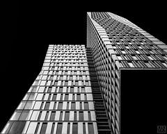 TOWER (MAICN) Tags: turm glass architektur building mono haus gebäude lines linien bw geometrisch frankfurt glas blackwhite monochrome fassade tower schwarzweis skyscraper front architecture einfarbig hochhäuser geometry sw
