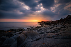 Rocky landscape in bad weather (dannygreyton) Tags: sunset coast sweden klippan mölle clouds storm ocean sea fujifilmxt2 fujifilm fujifilmxseries horizon kullen kullaberg hiking hike
