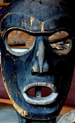 WEST COAST NATIVE ART, CARVED WOOD MASK, UBC, VANCOUVER. BC. (vermillion$baby) Tags: nativeart art carvng color firstnations mask red westcoast wood artsculpture native pacificnorthwest artofnorthamerica artofnativenorthamerica museum carving sculpture woodcarving museums artofthenative nativeamerican indian gallery aborigine