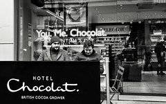 Hotel Chocolat (Bury Gardener) Tags: burystedmunds britain suffolk streetphotography street streetcandids snaps strangers candid candids 2019 people peoplewatching folks england eastanglia uk arc thearc bw blackandwhite monochrome mono