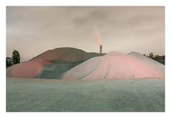Dissolving act (Markus Lehr) Tags: tracks gravelmounds chimney smoke cloudy night nightshot longexposure availablelight manmadelandscape atmosphere contemporaryphotography berlin germany markuslehr