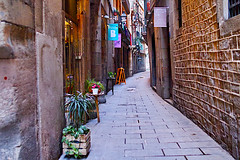 Barceloneando: Carrer Dels Mirallers (Fnikos) Tags: street road wall door window balcony narrow building architecture column construction light tarde afternoon plant nature table seat outdoor