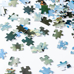 Pieces of a puzzle on white background thumbnail
