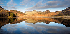 Blea tarn panorama (Alf Branch) Tags: landscape lakes lakedistrict lakesdistrict leicadg818mmf284 alfbranch cumbria clouds cumbrialakedistrict mountains langdale langdalepikes cold morning olympus omd olympusomdem5mkii water calmwater refelections reflection lake tarn bleatarn