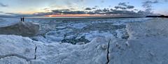 Selfies on the Ice Shelf   [Explore] (GLASman1) Tags: iceshelf pano selfie sunset empire michigan usa beautiful cold ice lake sleeping bear dunes national lakeshore leelanau county iphone handheld