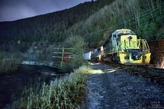 Ready to depart. (DirtyDeeble67) Tags: jimthorpe pennsylvania night nighttime nepa nikon nightphotography d750 nikond750 trains longexposure longexposurephotography emdsd402 emd readingandnorthern rbmn reading railroad