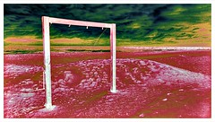 Goal (plismo) Tags: beach goal wood landscape outdoors manipulation color outdoor manipulate art artwork surreal darkclouds clouds goalposts