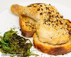 MEATER made chicken maryland and spinach. (garydlum) Tags: balsamicvinegar chicken chickenmaryland sourdoughbread spinach canberra australiancapitalterritory australia au