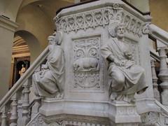Pulpit detail, seated saints and lamb, Église Saint-Polycarpe, Lyon, France (Paul McClure DC) Tags: lyon france july2017 auvergnerhônealpes architecture historic church sculpture lacroixrousse