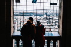 Observing from the Observation Deck (ewitsoe) Tags: city nikon street warszawa winter erikwitsoe erikwitsoecom poland urban warsaw observationdeck palaceofcultureandscience wind couple peopel cold outdoors cityscape mood storm