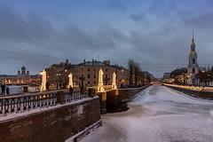 Pikalov Bridge (andrius_) Tags: lights bluehour twilight garland winter bridge christmas snow