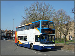 18149, Raglan Street (Jason 87030) Tags: dennis trident alx400 doubledecker stagecoach midlands red white blue orange 16 ectonbrook service route march 2019 northampton flats tree naked bare branch trunk season vehicle transport 18149 shot sony
