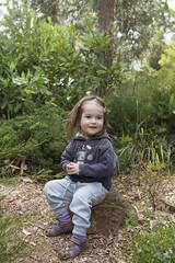 a nice rock to sit on (louisa_catlover) Tags: portrait child toddler daughter tabitha tabby outdoor garden nature karwarra karwarraaustraliannativebotanicgarden kalorama dandenongs dandenongranges victoria australia