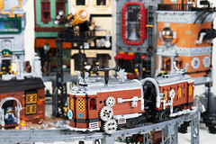 Steampunk Moon City Tram (Dwalin Forkbeard) Tags: lego moc steampunk city train railway tram colony moon cheese rocket house airship telescope elevator pf