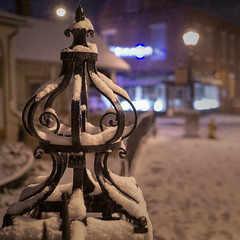 Snowy Fence Post (jtgfoto) Tags: approved annapolis snow snowy nightscape nightlights dta downtownannapolis annearundelcounty maryland naptown sonyimages sonyalpha cityscape zeiss statecircle fencepost fence
