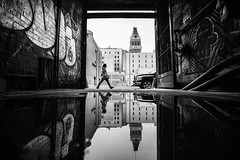 tribune reflection (eb78) Tags: ca california blackandwhite bw monochrome greyscale grayscale oakland eastbay streetphotography urban reflection