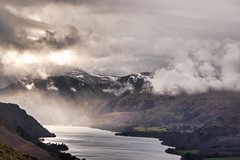Spring Showers (vincocamm) Tags: ullswater lake water mountains snow white brown green grey cumbria trees hills fells moody dramatic landscape england english lakedistrict sun rays rain clouds cloudy sunbeams nikon d5500 crepuscular