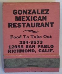 GONZALEZ MEXICAN RESTAURANT RICHMOND CALIF (ussiwojima) Tags: gonzalezmexicanrestaurant restaurant richmond california advertising matchbook matchcover