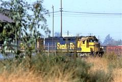 Santa Fe SD45-2 locomotive at San Bernardino in 1977 (Tangled Bank) Tags: train railway railroad old classic heritage vintage history historical north american equipment santa fe sd452 locomotive san bernardino 1977
