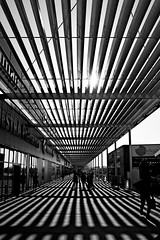 Perspective (lesphotosdepatrick) Tags: perspective bw shoppingmall nîmes southoffrance contrast backlight sun light shadows
