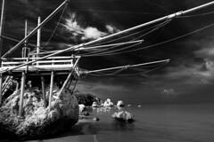 Trabucco (leo2109) Tags: bw rodi garganico puglia gargano italy bianoenero sea seascape seaside outdoor
