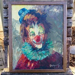 Comic Tragedy (Black Cat Bazaar) Tags: clown painting paletteknife vintage retro haunted signed original canvas framed thriftstorescore blue green red ruffle hat