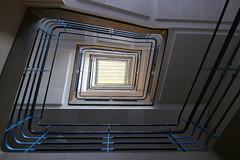 Between biology and mathematics lessons (Elbmaedchen) Tags: staircase stairs stairwell stufen treppenhaus escaliers escaleras steps roundandround upanddownstairs interior schule hamburg unterwegsmitmichaelhamburg school stshamm quadratisch